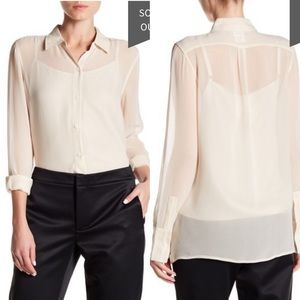 canvas lands end sheer silk blouse blizzard pearl